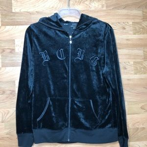 BCBGMAXAZRIA VELOUR BLACK LONG SLEEVE ZIP UP